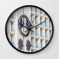 korean Wall Clocks featuring Korean Palace Doors by Jennifer Stinson