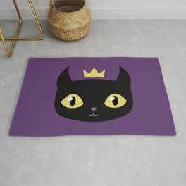 Black cat king Rug