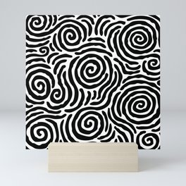 Ripple Effect Pattern Black and White Mini Art Print