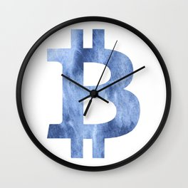 Bitcoin Blue clouds watercolor pattern Wall Clock