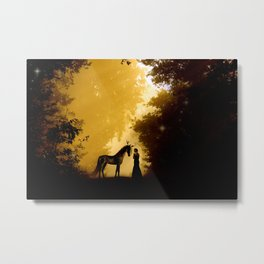 Magical Forest with a Lady and a Unicorn Metal Print