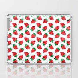 Cream Strawberries Pattern Laptop & iPad Skin