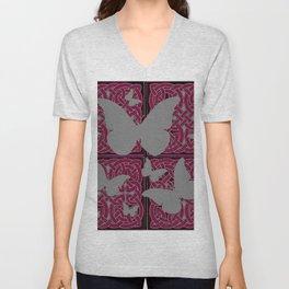 Grey Mystic Butterflies Burgundy Purple Celtic Art Unisex V-Neck