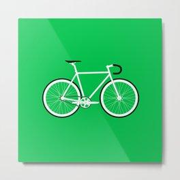Green Fixed Gear Road Bike Metal Print