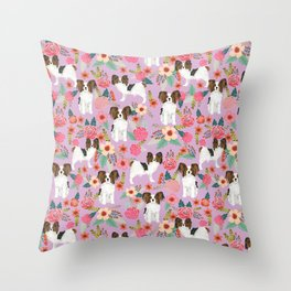 Papillon pet friendly small cute dog breed must have gift for dog lover florals dog pattern print Throw Pillow