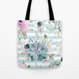Succulent Garden Striped Succulent Blue Tote Bag