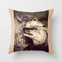 wolves Throw Pillows featuring Wolves by CLE.ArT.