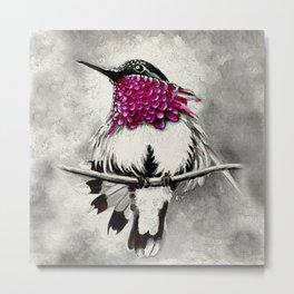 Hummingbird Magenta Black Metal Print