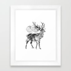 Deer Wanderlust Black and White Framed Art Print