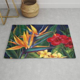 Tropical Paradise Hawaiian Floral Illustration Rug