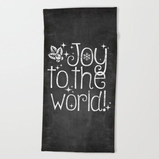 Joy to the world chalkboard christmas lettering Beach Towel