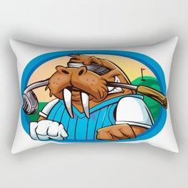Cartoon walrus golf club Rectangular Pillow