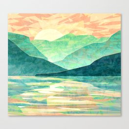 Spring Sunset over Emerald Mountain Landscape Painting Canvas Print