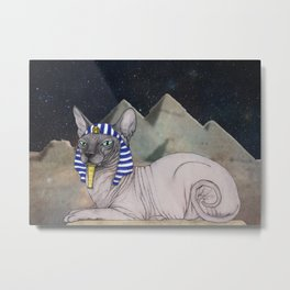 Sphynx Cat (space bg) Metal Print