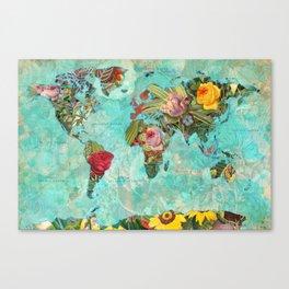 Flower World Map Canvas Print