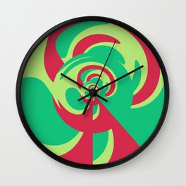 Nouveau Retro Graphic Red and Green Wall Clock