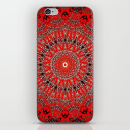 Rich Red Vintage Mandala iPhone Skin