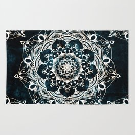 Glowing Spirit Mandala Blue White Rug