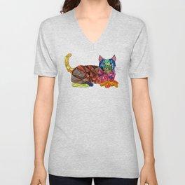 Colourful Geomatric Cat Unisex V-Neck