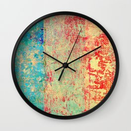 Brilliant Encounter, Abstract Art Turquoise Red Wall Clock