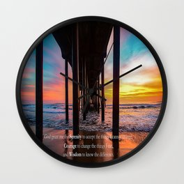 Serenity Prayer - Surf City USA Wall Clock