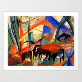 "Franz Marc ""Landscape with Black Horses"" Art Print"