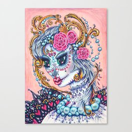 Pink Victorian Queen of Hearts wearing roses in Sugar Skull Make up for Day of the Dead Festival Canvas Print