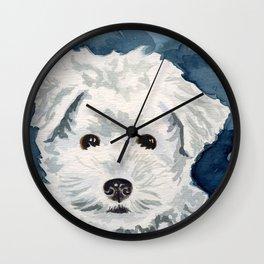 Bichon Frise Watercolor Wall Clock