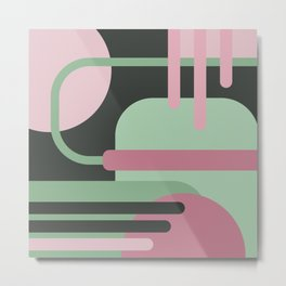 Art Deco Composition Pink and Green #3 Metal Print