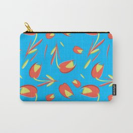 Gentle flowers and tulips on azure background. Carry-All Pouch
