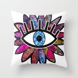 Greek Evil Eye Purple Flower Throw Pillow