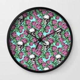 Skulls & Roses Pattern on Blue Wall Clock