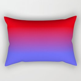 Neon Red and Bright Neon Blue Ombre Shade Color Fade Rectangular Pillow