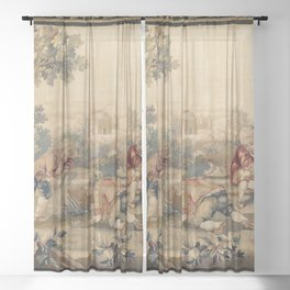 Aubusson  Antique French Tapestry Print Sheer Curtain