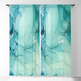 Abstract Blue Teal Turquoise Art Print By LandSartprints Blackout Curtain