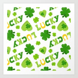 St. Patrick's Day Lucky Shamrocks and 4-Leaf Clovers Art Print