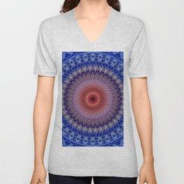 Blue, lilac and orange mandala Unisex V-Neck