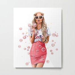 Girl with bubbles Metal Print