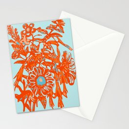 Orange and blue floral pattern Stationery Cards