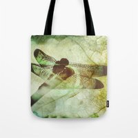 dragonfly Tote Bags featuring Dragonfly by SpaceFrogDesigns