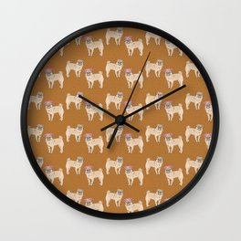 cute little pug dogs girl and boy pattern Wall Clock