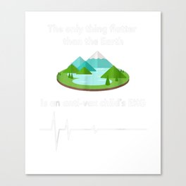 Only Thing Flatter Than Earth is Anti-Vax Child's EKG TShirt Canvas Print