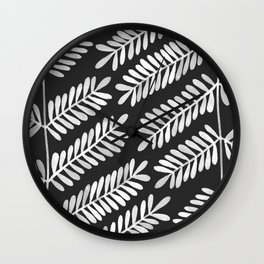 White Leaflets Wall Clock