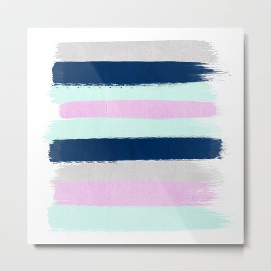 Minimal painted stripes pattern bright happy gender neutral colors Metal Print