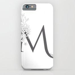 Monogram Letter M Floral iPhone Case