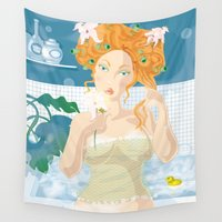 virgo Wall Tapestries featuring Virgo by Alfonso Costanza