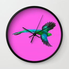 Painted Quetzal with Mexican Pink Wall Clock