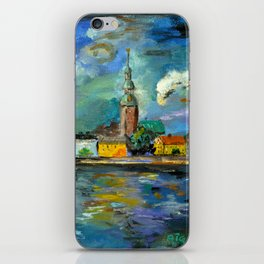 A Night of Color in Riga iPhone Skin