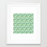 yorkie Framed Art Prints featuring Yorkie Pattern by Bark Point Studio