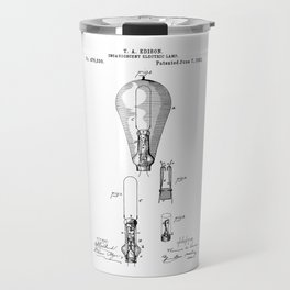 patent art Edison 1892 Incandescent electric lamp Travel Mug